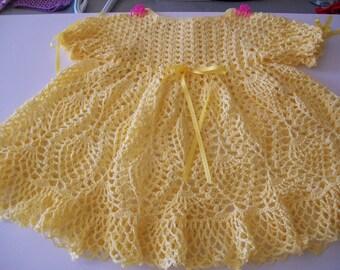 Crocheted Baby Dress, Yellow, Cotton, Handmade