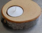 Birch Branch Slice Tea Light Holder for a Natural, Elegant, Rustic Home Accent