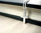 Tiny cross necklace silver modern jewelry - Petite cross silver necklace young style having 925 hand stamped on front - Simple cross chain