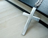 Reserved for Coltmayer93-  Large cross silver necklace - Mens cross necklace in matte silver - GALILEE Jesus cross - His cross pendant