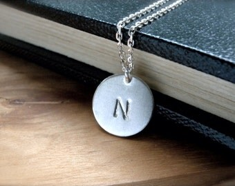Initial N necklace Initial P initial Q initial S hand stamped silver disc necklace - Personalized silver jewelry perfect gift idea