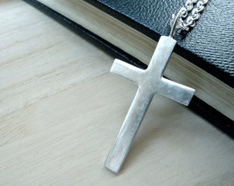 """Large cross silver necklace - Mens cross necklace in matte silver christian jewelry - GALILEE Jesus cross - His cross pendant 25"""" chain"""