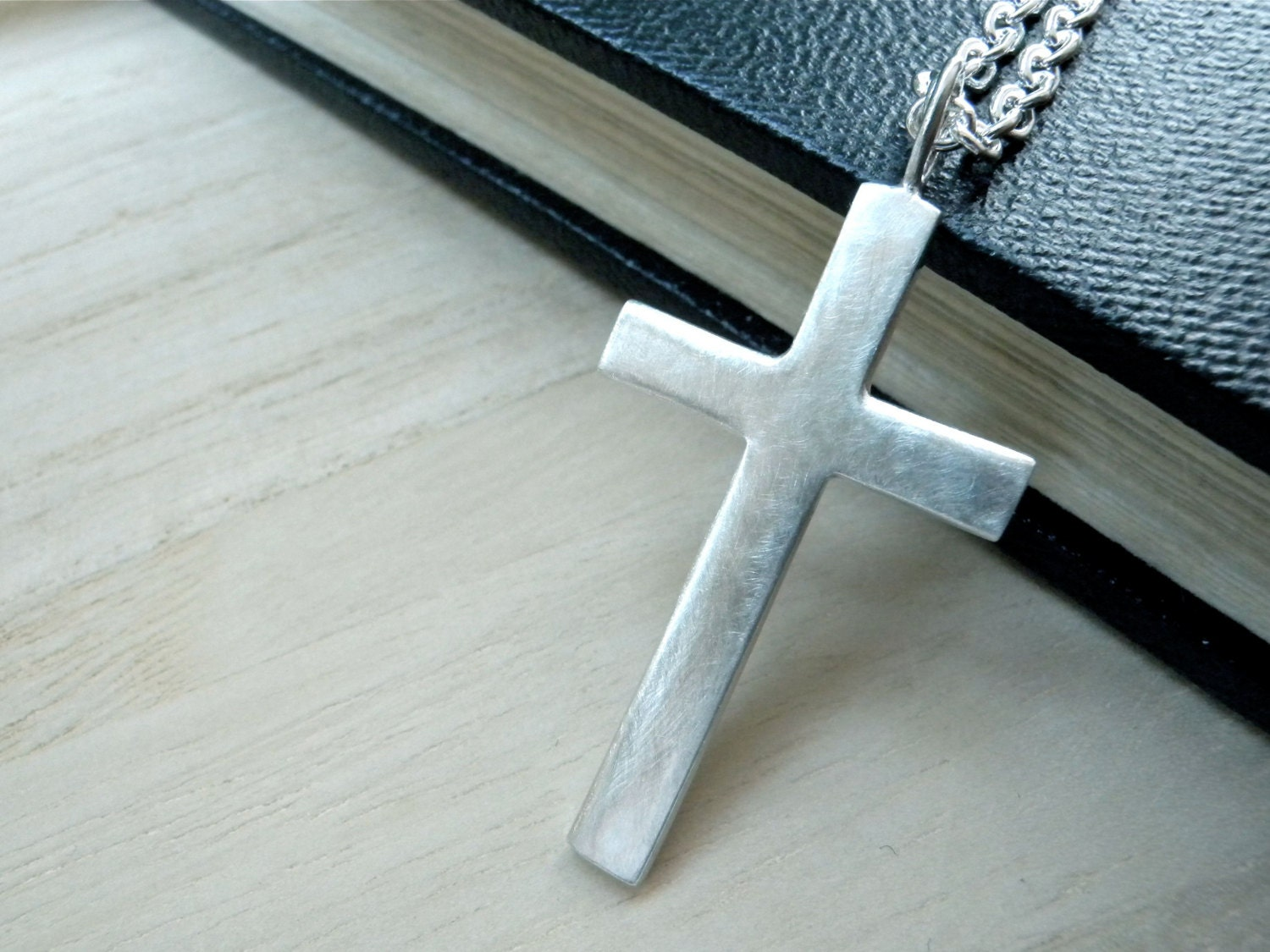 large cross silver necklace mens cross necklace matte silver. Black Bedroom Furniture Sets. Home Design Ideas