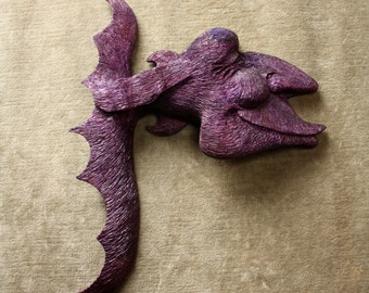A purple carved wood fish nautical beach house wood carving Gift