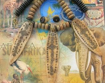 Dramatic Ethiopian Bone Amulets, Agate & Wood Beads, Ethnic Necklace, Statement Necklace Set by SandraDesigns