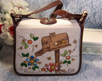 Vintage Enid Collins By The Roadside Jeweled Handbag or Purse, 1950's to 1960's Mid Century, Ladies Womens Accessory, Excellent Condition
