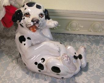 Vintage Italy Art Pottery Majolica Dalamation Puppy Dog Figurine Italian, 1980s Mid Century, Hand Molded Dog, Vintage Collectible Figurine