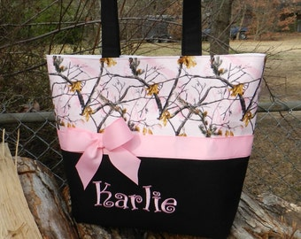 Personalized monogram girl pink camo diaper bag/baby shower gift