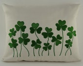 """Embroidered Pillow Cover - Shamrock - St Patrick's Day - - 12"""" x 16"""" Natural Color Pillow with Green Embroidery (READY TO SHIP)"""