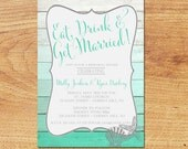 Rehearsal Dinner Invitation-Digital Custom Card-Ombre Beach