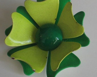 Flower Power Green on Green   Enamel Brooch