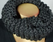 Free Shipping Charcoal Grey Tight Knit Infinity Scarf Cowl