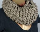 Taupe Metallic Loose Knit Cozie Infinity Circle Scarf Cowl Wool