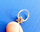 Carry Your Star of David. 14K Gold Star of David Nose Ring. Recycled. Eco Friendly. Unisex Man or Woman. Helix Piercing. Cartilage Ring.