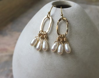 Pearl Earrings, Pearl Cluster Earrings, June Birthstone, Gold Filled Hammered Hoop Earrings, Wedding Jewelry, Bridal Jewelry
