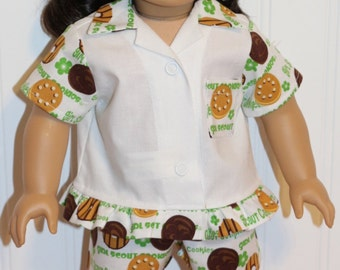 """SCOUT COOKIES Cotton Pajamas Final Pair - Fabric is no longer produced - Fits 18"""" Dolls  - Proudly Made in America"""