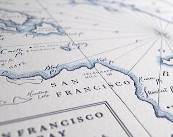 Historic San Francisco, Letterpress Map Print (Navy)