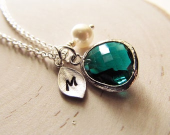 Emerald Necklace, May Birthstone Necklace, Personalized Necklace, Birthstone Jewelry, May Birthday Gift, Simulated Emerald Jewelry