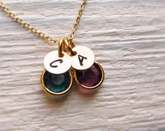 Mothers Necklace Birthstone, Gold Birthstone Initial Charm, Petite Birthstone Necklace for Mom, Personalized Mothers Jewelry, 1-6 Birthstone