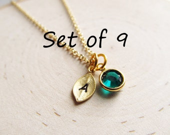 Personalized Bridesmaids Gifts, Set of 9 Necklaces, Gold Initial Birthstone Necklace, Personalized Necklace, Tiny Initial Necklace, Bridal