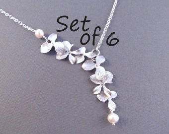 Pearl Bridesmaid Necklace Set of 6, Silver Orchid Flowers with Pearls, Bridal Party Jewelry, Wedding Jewelry, Lariat Style Necklace