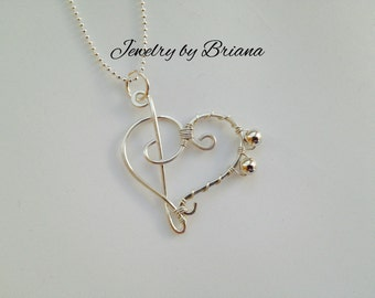 Treble Bass Heart Wire Wrap Necklace in Sterling Silver