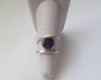 Wire Wrap Ring with Purple Bead