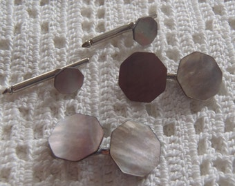 Vintage Cuff Link Shirt Stud Set Mother of Pearl