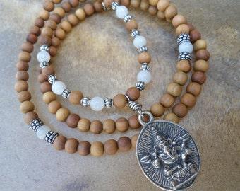 Ganesha  Sandalwood Mala  108 Bead Mala  Ganesha Necklace  Moonstone  Mala Beads  Sandal wood Mala  Yoga Necklace Ganesh  OM  Good Fortune