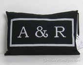 Personalized Black Lumbar Pillow Cover with Initials Fully Lined Handmade in Canada