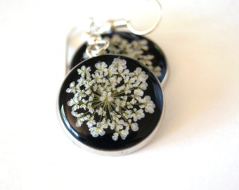 Pressed Flowers, Resin Jewelry, Real Flower in Resin, Earrings, Queen Anne's Lace, Handmade Jewellery, Ocean Petals