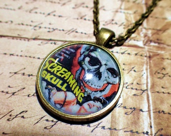 Vintage Horror comic necklace Screaming Skull jewelry