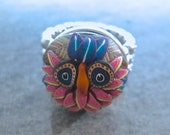 Owl Ring, Woodland Ring, Polymer Clay Ring, Blue Ring, Blue Owl Ring, Exchangeable Snap Ring, Wearable Art