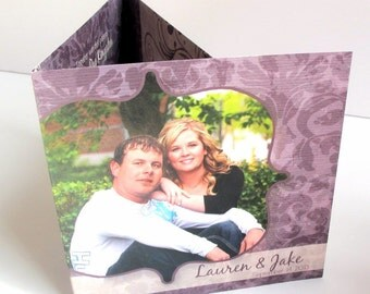 Tri Fold Wedding Invitations - Complete with photos, tear off RSVP card all in one (176)
