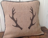 Burlap and Leather Antlers Pillow Cover