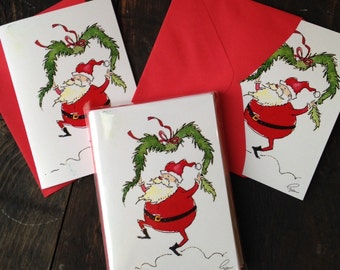 Set of 12 Christmas Cards at Over 10 % Discount Funny Santa Clause Greeting Cards Christmas Stationery Funny Santa Clause Stationery