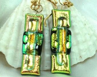 Gold Dichroic Glass  Earrings , Gold Fused Glass Earrings, Dichroic Dangles, Dichroic Jewelry, Cherry Blossom, OOAK Earrings