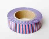 On Sale - Limited Edition mt Japanese Washi Masking Tape - Tricolor Red x Green x White or Red x Blue x White for holiday packaging stripes