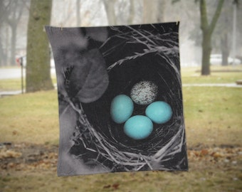 Fleece Blanket - Bird Nest Eggs - Blue Black Gray - Decorative Fleece Blanket - Baby Blanket - Medium Large Blanket