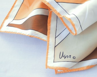 Vera Neumann Geometric Scarf in Tan, Brown, Orange, and White, Designer Fashion, Square Shape, 1970s or 80s
