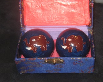 40MM Vintage Chinese Asian BLUE Elephant Balls With Box