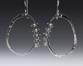 Sterling Silver Hand Forged Hammered Loop Earrings With Labradorites