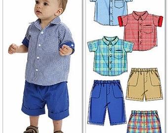 Baby Boy Shorts and Shirt Pattern, Toddler Boy Shorts and Button Shirt Pattern, Sz 13 to 29 lbs, McCall's Sewing Pattern 6016
