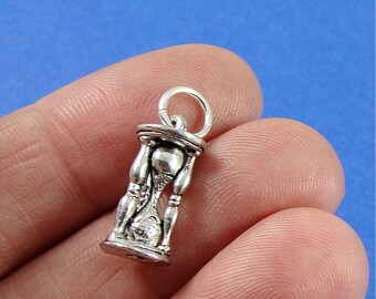 Hourglass Sand Timer Charm - Silver Plated Hourglass Sand Timer Charm for Necklace or Bracelet