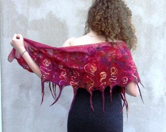 Felted scarf, red scarf, silk scarf, nuno felt scarf, fringes scarf, luxury scarf, gift for women, merino wool, feminine, Bohemian clothing