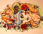 Original Gypsy Tattoo Flash-- ink watercolor (prints available)
