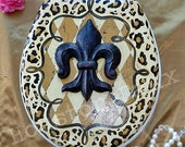 "Leopard Harlequin ~ "" MacKenzie-Childs Inspired "" Toilet Seat  w Fleur de Lis ~ 16"" Round / Ready to ship ~ You get this one!"