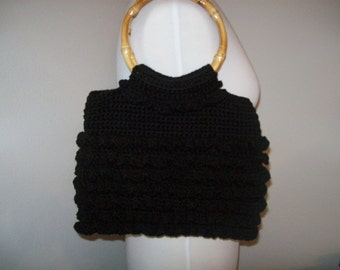 Black Ruffled Crochet Handbag