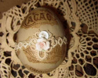 Vintage Lace Chocolat Cacao Ad Collage Easter Egg Spring Decor