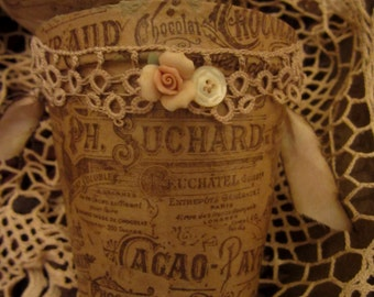 Vintage Lace Chocolat Cacao Ad Collage Embellished Peat Pot 1 Spring Decor
